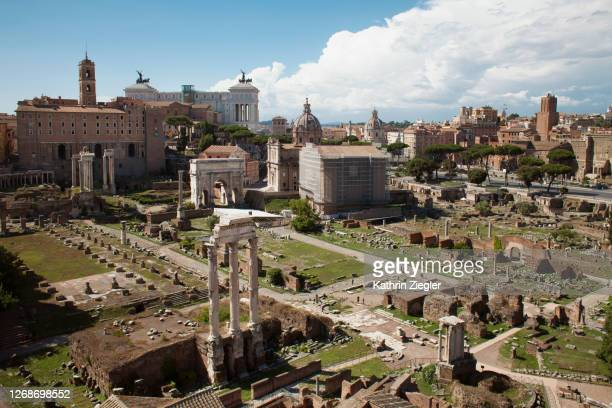 high angle view of the roman forum, rome, italy - ancient rome stock pictures, royalty-free photos & images