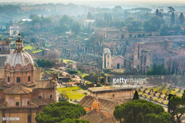 High angle view of the Roman Forum, Rome, Italy