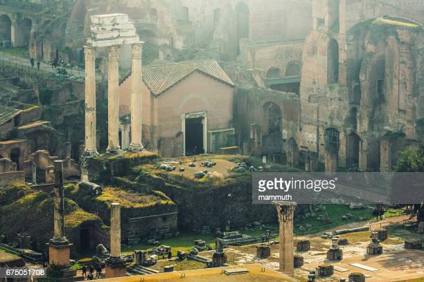 High angle view of the Roman Forum (Temple of Castor and Pollux, the ruins of Basilica Julia.), Rome, Italy