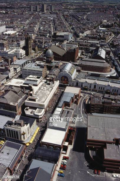 A high angle view of the seaside resort of Blackpool including the Winter Gardens Blackpool Lancashire August 1983