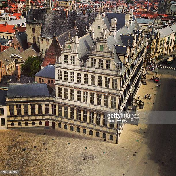 high angle view of the town hall in ghent - flandres oriental imagens e fotografias de stock