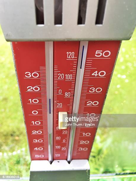 High Angle View Of Thermometer Against Window In Greenhouse