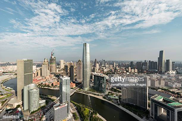 high angle view of tianjin skyline - french quarter stock photos and pictures