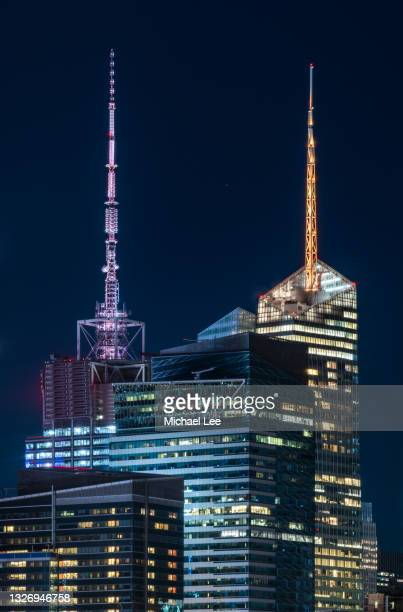 high angle view of times square towers in new york - manhattan new york city stock pictures, royalty-free photos & images