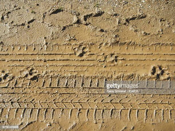 High Angle View Of Tire Tracks On Muddy Field