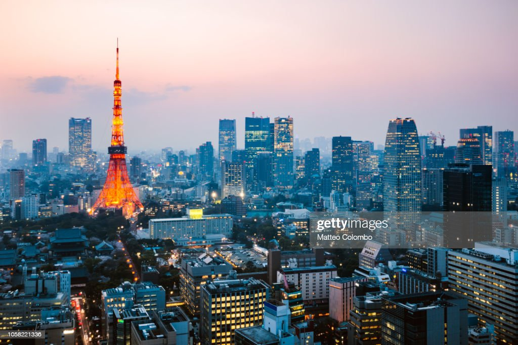 High angle view of Tokyo skyline at dusk, Japan : Stock Photo