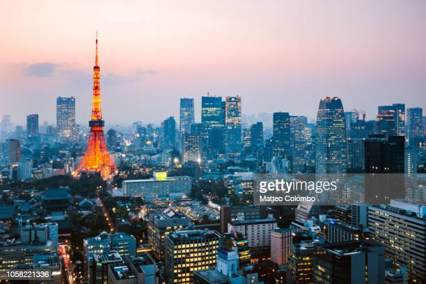 high angle view of tokyo skyline at dusk, japan - tokyo japan stock pictures, royalty-free photos & images