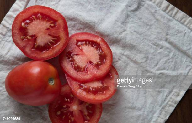 High Angle View Of Tomato Slices On Napkin