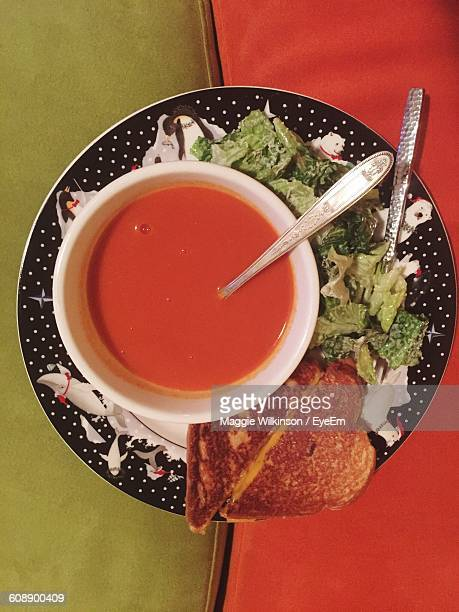 High Angle View Of Tomato Soup In Bowl