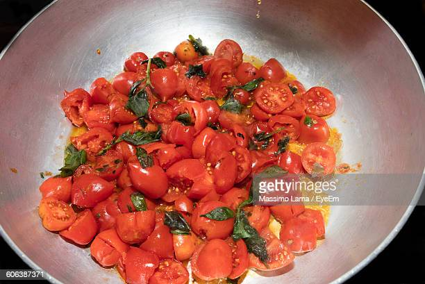 High Angle View Of Tomatoes In Cooking Utensil