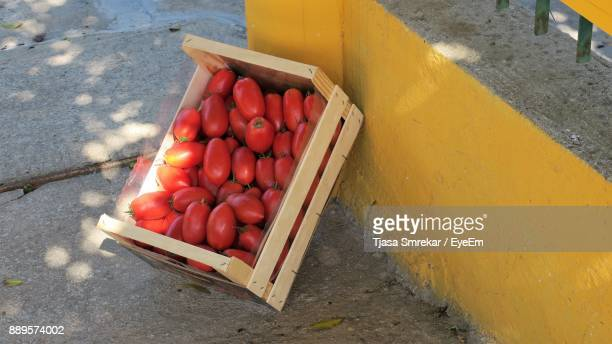 High Angle View Of Tomatoes In Crate On Street