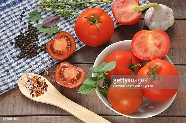 high angle view of tomatoes - nathalie pellenkoft stock pictures, royalty-free photos & images