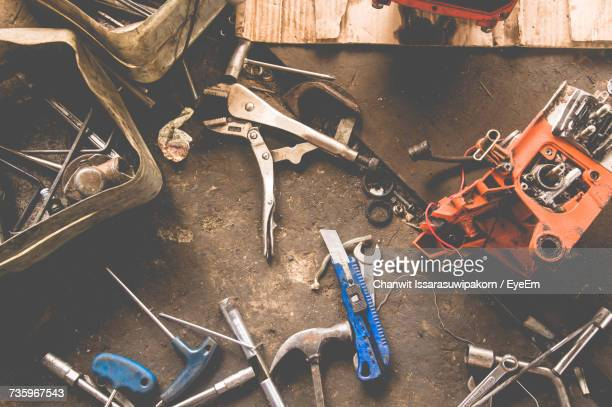 High Angle View Of Tools In Workshop