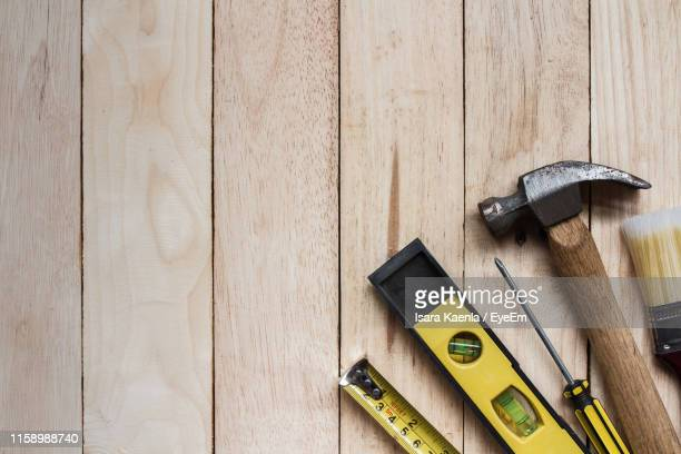 high angle view of tools on table - toolbox stock pictures, royalty-free photos & images