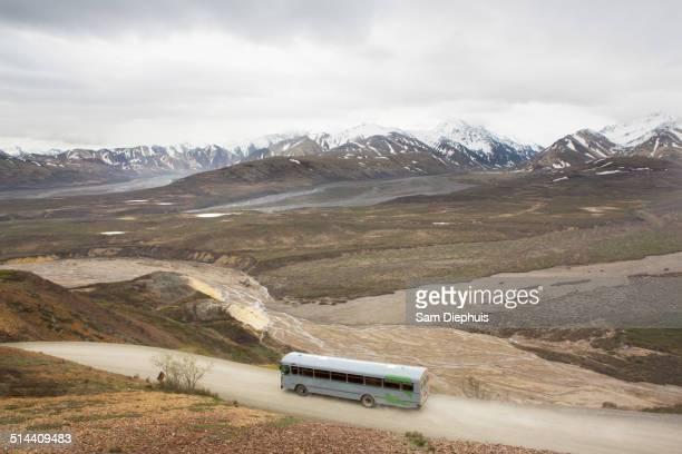 high angle view of tour bus in rural landscape, anchorage, alaska, denali national park, united states - paisajes de alaska fotografías e imágenes de stock