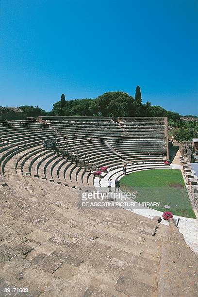 High angle view of tourists at an amphitheatre Ostia Lazio Italy