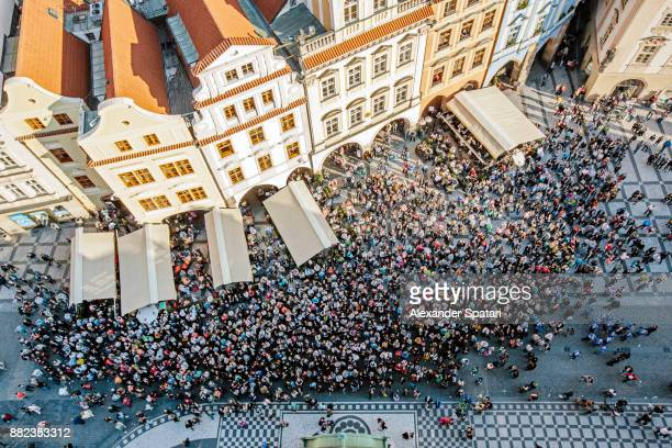 High angle view of tourists at Staromestske Namesti (Old Town Square)