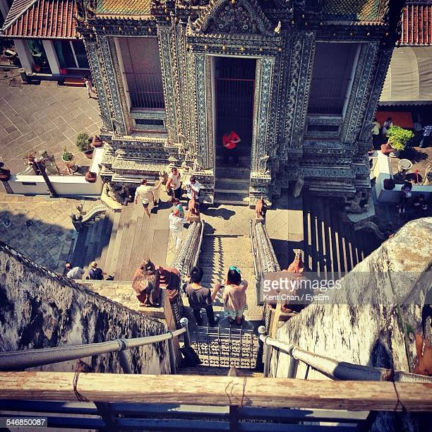 High Angle View Of Tourists At Wat Arun Temple