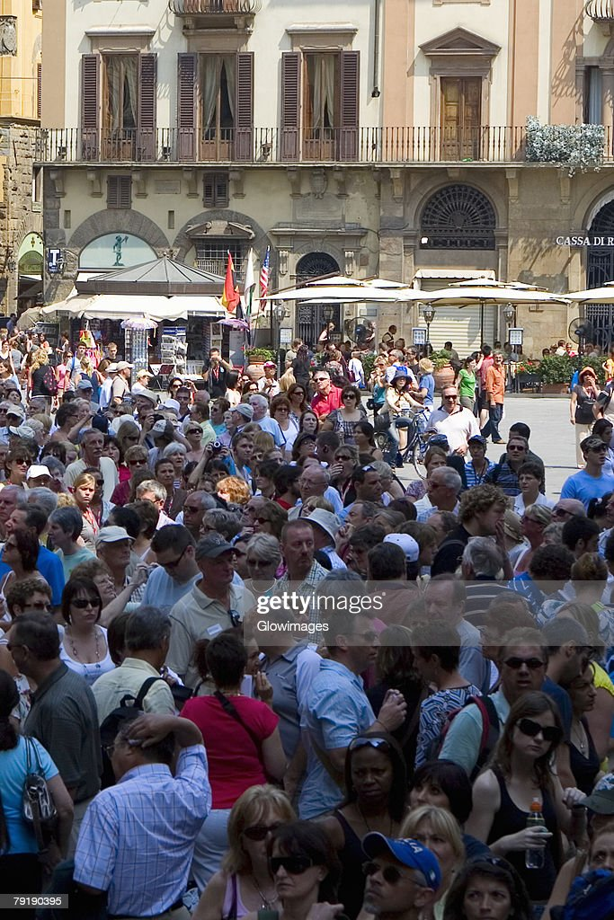 High angle view of tourists in a city, Piazza Della Signoria, Florence, Tuscany, Italy : Stock Photo