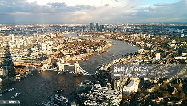 High Angle View Of Tower Bridge Over Thames River In City Against Sky Seen From The Shard
