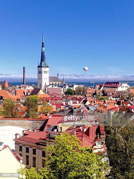 high angle view of town against sky - tallinn stock pictures, royalty-free photos & images
