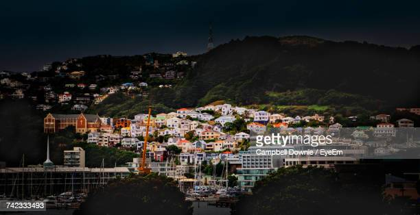 high angle view of town against sky - campbell downie stock pictures, royalty-free photos & images