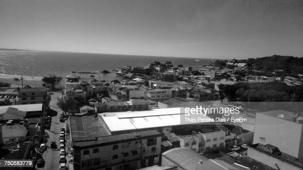 high angle view of town against sky - maca plant stock photos and pictures