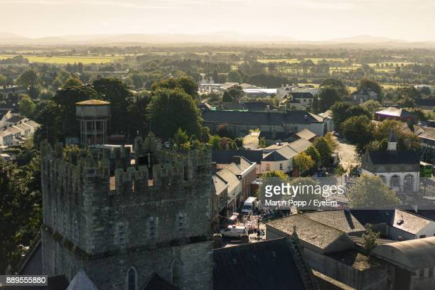 high angle view of town against sky - kildare stock photos and pictures