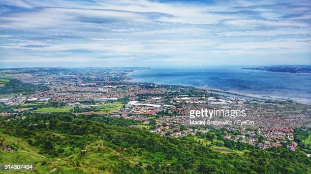 high angle view of town against sky - belfast stock pictures, royalty-free photos & images