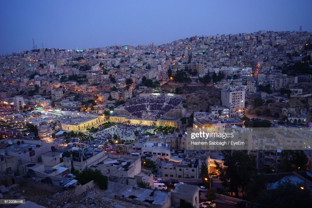 High Angle View Of Town At Night : Stock Photo