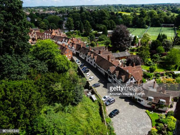 high angle view of town in city - warwick uk stock photos and pictures
