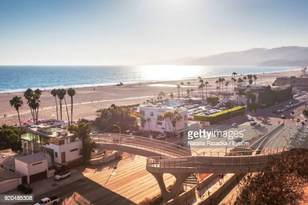 high angle view of town - santa monica stock-fotos und bilder