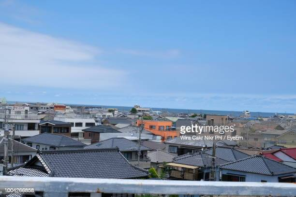high angle view of townscape against blue sky - 千葉県 ストックフォトと画像