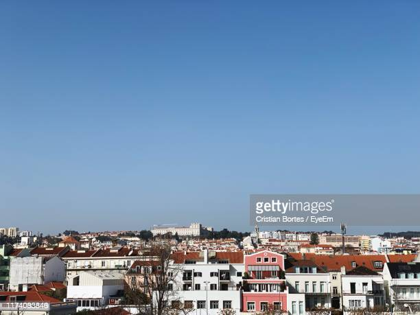 high angle view of townscape against clear blue sky - bortes stock pictures, royalty-free photos & images