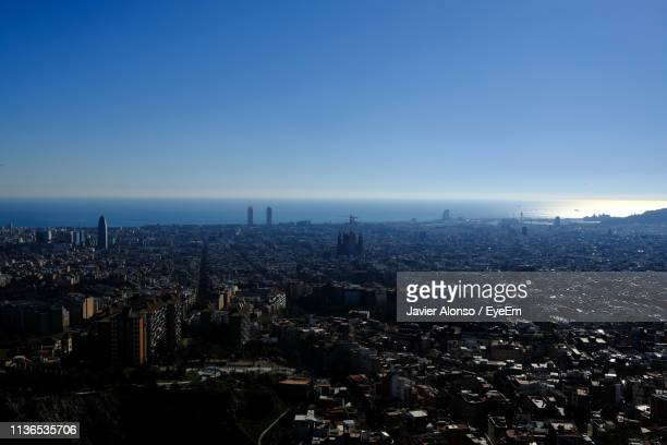high angle view of townscape against clear sky - javier alonso fotografías e imágenes de stock