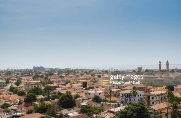 high angle view of townscape against clear sky - banjul stock pictures, royalty-free photos & images