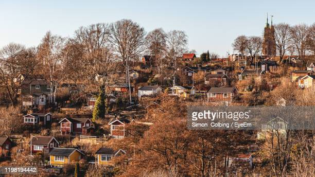high angle view of townscape against clear sky - colbing stock pictures, royalty-free photos & images