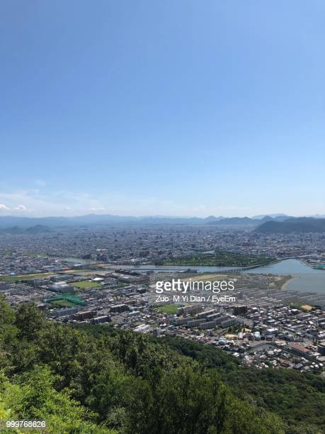 high angle view of townscape against clear sky - kagawa ストックフォトと画像