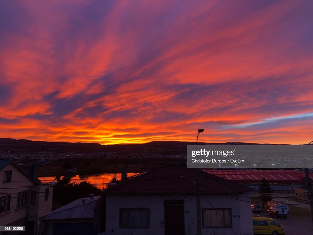High Angle View Of Townscape Against Dramatic Sky : Stock Photo
