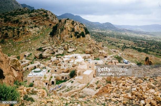 high angle view of townscape against mountain - sousse stock pictures, royalty-free photos & images
