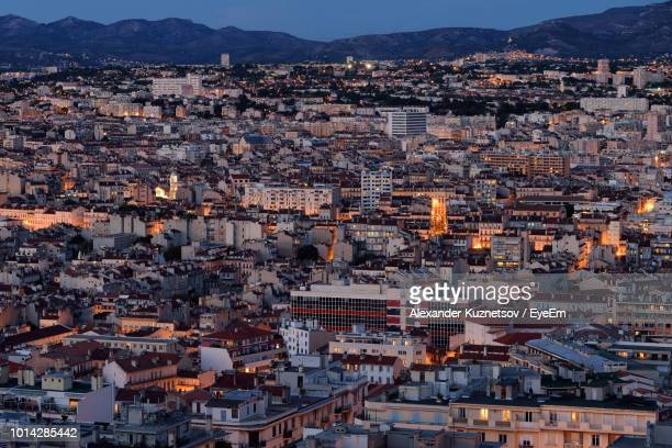 high angle view of townscape against sky at dusk - bouches du rhone stock pictures, royalty-free photos & images