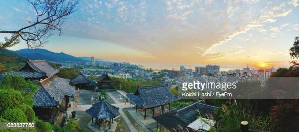 high angle view of townscape against sky during sunset - mie prefecture stock pictures, royalty-free photos & images