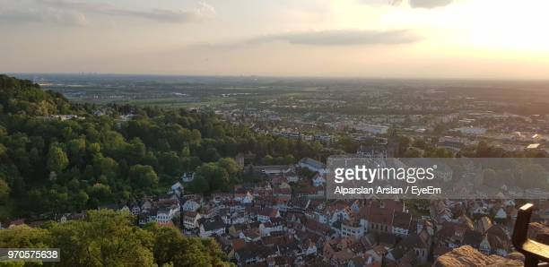 high angle view of townscape against sky during sunset - heidelberg germany stock pictures, royalty-free photos & images