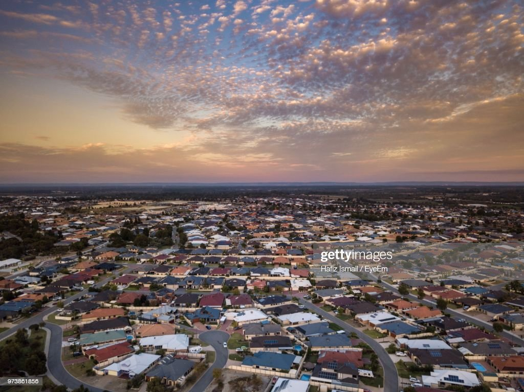 High Angle View Of Townscape Against Sky During Sunset : Stock Photo