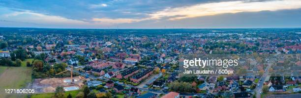 high angle view of townscape against sky, neu wulmstorf, germany - neu fotografías e imágenes de stock