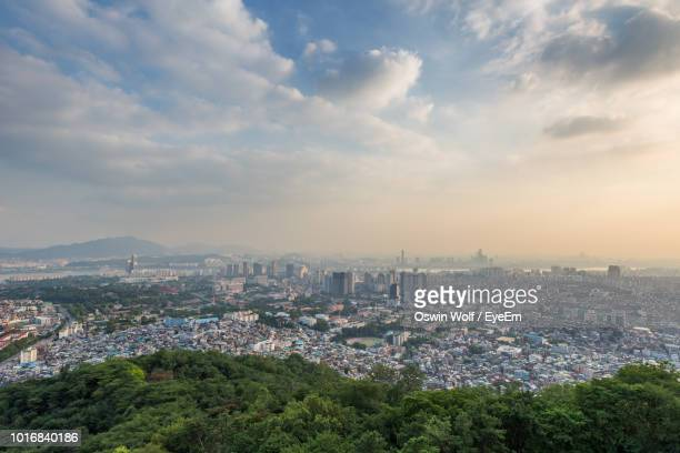 high angle view of townscape against sky - wide shot stock pictures, royalty-free photos & images