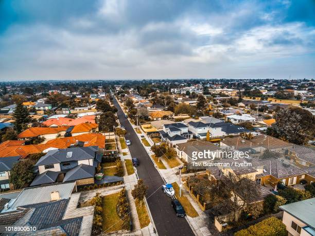 high angle view of townscape against sky - melbourne australia stock pictures, royalty-free photos & images