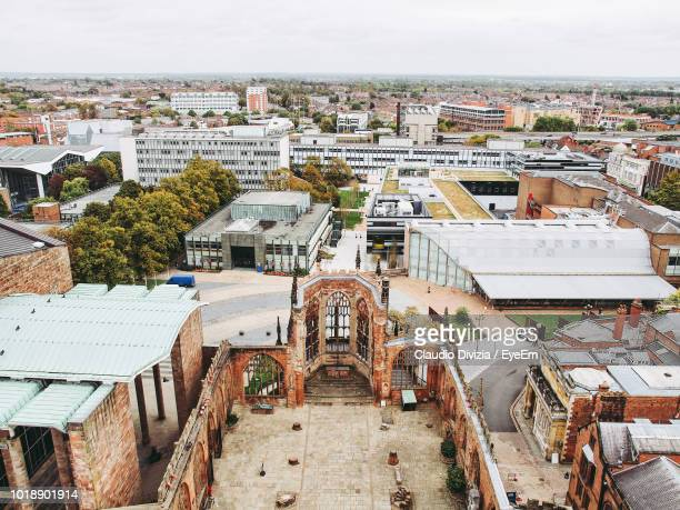 high angle view of townscape against sky - coventry stock pictures, royalty-free photos & images