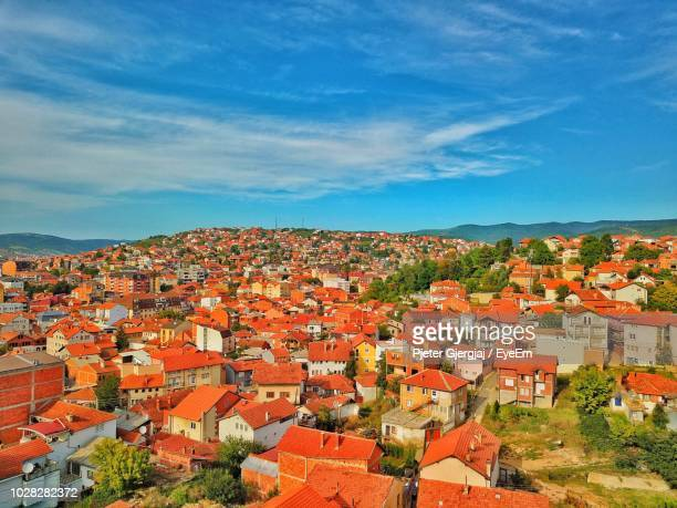high angle view of townscape against sky - kosovo stock pictures, royalty-free photos & images