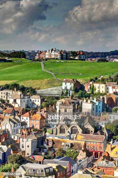 high angle view of townscape against sky - hastings stock photos and pictures